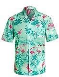 APTRO Herren Hemd Strandhemd Hawaiihemd Kurzarm Urlaub Hemd Freizeit Reise Hemd Party Hemd Flamingo Grün BT020 S