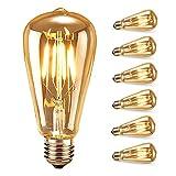 Edison Glühlampen,Samione Edison LED Lampe Vintage Stil Glühbirne Squirrel Cage Retro Lampe Antike Beleuchtung 6 Stück, [Energieklasse Energieklasse A++]