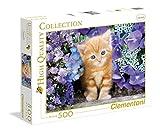 Clementoni 30415.8 - 500 T High Quality Collection, Katze Im Blumenmeer, Klassische Puzzle