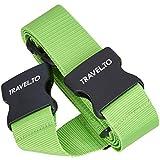 TRAVELTO 2-Wege-Gepäckgurt zum Verschließen und Kennzeichnen von Gepäck, Maße 5x200 cm und 5x230 cm ( 1 Stück ), Neongrün, inklusive 3 Jahren Geld-zurück-Garantie - Koffer-Gurt Gepäck-Gurt