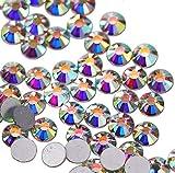 jollin Kristalle Glue Fix Flatback Strasssteine Glas Glitzerelementen Gem Glitzersteine, Crystal AB, SS20 1440pcs