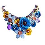 Yogogo Mischart Kette Kristall Bunt Blume Luxus Weben Halskette für Frauen (Blau)