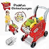 Packfun Kinder Einkaufswagen Spielzeug Supermarkt Einkaufswagen Trolley Cart mit Pretend Play Food Spielzeug für Jungen und Mädchen (Rot)