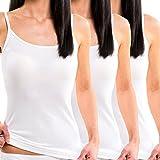 HERMKO 1560 3er Pack Damen Träger Top aus 100 % Baumwolle, Farbe:weiß, Größe:36/38 (S)