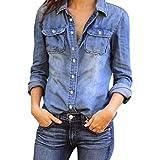 Damen Jeanshemd Rosennie Frauen Mode Casual Hemd Blue Jean Denim Langarm Shirt Tops Bluse Jacke Womens Jeansbluse Hemdbluse Langarmbluse Jeansjacke Frühling Sommer Oberteile streetwear (Blau, XL)