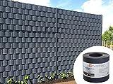Sichtschutz anthrazit, 25 Meter - zur Anbringung an Doppelstabmatten - Lärm-, Sicht- & Windschutz - einfache Montage, ohne Werkzeug - 1,1 mm Stärke statt der üblichen 1,0 mm - Made in Germany