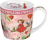Porzellantasse Erdbeerinchen. Motiv Picknick mit Freunden: Erdbeerinchen Erdbeerfee. Edle Porzellantasse, farbig bedruckt, in hochwertiger Geschenkbox: