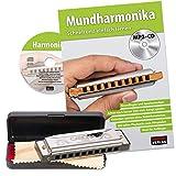 CASCHA Mundharmonika Anfänger Set mit Schule, Blues Harmonica spielen lernen, inklusive Case, Pflegetuch und Lehrbuch, C Dur Harmonika