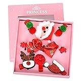 Cozywind Weihnachten Haarspange für Mädchen Baby Kinder Haarbögen Kleinkind Glitzer Haarklammer Haarschmuck Geschenk Set 9 Stücke (Rot)