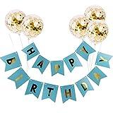 Limeo Alles Gute zum Geburtstag Banner Happy Birthday Girlande Banner Geburtstagsfeier Dekoration für Geburtstagsfeier Dekoration für Mädchen und Frauen (Blau)