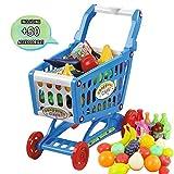 deAO Kinder Einkaufswagen Spielset . Gefüllt mit 50 Kuststofflebensmitteln