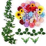 ETEREAUTY Kunstblumen, 47 Stück Deko Blumen mit Rebe und der blätter, 5 Sorten Blumen Rose, Sonnenblume, Dahlie, Hortensie, Chrysantheme - Perfekte für DIY Geschenk nach Hause