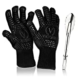 Viktorius Grillhandschuhe hitzebeständig bis 500°C Premium Ofenhandschuhe Extra Lang | BBQ Handschuhe Inklusive Grillzange
