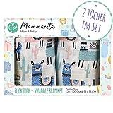 Pucktuch Baby 2er Set 100% zertifizierte Baumwolle - Swaddle Blanket - Musselin Puckdecke mit Lamas - ideal als Babydecke, Stilltuch, Spucktuch, Schmusedecke (120x120 cm + 75x75 cm)