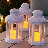 3er Set LED Laterne mit LED Kerze weiß Batteriebetrieb Lights4fun