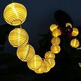 LED Solar Lichterkette Lampions ALED LIGHT IP65 Wasserdicht 20er LED Lampions Laterne Lichterkette Garten Innen- und Außenbereich 5 M für Party Weihnachten Outdoor Fest Deko usw. [Energieklasse A+++] (Warmweiß)