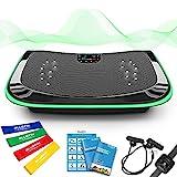 4D Vibrationsplatte - Leistungsstark mit 3 leisen Motoren | Leicht zu Bedienen | Magnetfeldtherapie Massage | Ultra Komfort - Curved Design | 4.0 Bluetooth Lautsprecher (Schwarz)