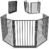 KIDUKU Kaminschutzgitter mit Tür und Doppelverschluss Metall Laufgitter Laufstall Absperrgitter Türschutzgitter für Kinder-Sicherung, 300 cm Länge, schwarz