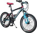 KRON XC-100 Hardtail Aluminium Kinder Mountainbike 20 Zoll ab 6-9 Jahre | 21 Gang Shimano Kettenschaltung mit V-Bremse | Kinderfahrrad 13 Zoll Rahmen Schwarz Blau Rot