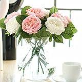 Unechte Blumen,Künstliche Deko Blumen Gefälschte Blumen Seidenrosen Plastik 6 Köpfe Braut Hochzeitsblumenstrauß für Haus Garten Party Blumenschmuck (rosa-weiß)