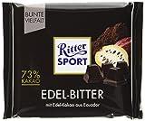 RITTER SPORT Edel-Bitter 73% Kakao (9 x 100 g), Dunkle Bitterschokolade mit 70% Kakao, Edel-Schokolade zartbitter, mit edlem Arriba-Kakao