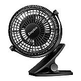 Easyacc Clip Schreibtisch Ventilator Mini Lüfter USB Tischventilator Tragbarer Ventilatoren 720° Drehung für Haus Büro Schlafzimmer und mehr -- Schwarz