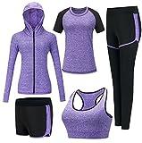 Zetiy Damen 5er-Set Strech Tights Sport Yoga Trainingsanzug (L, Violett)