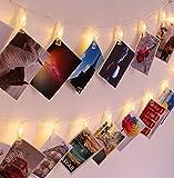 30 LED-Foto-Clips Lichterketten, Weihnachten Innenbeleuchtung,USB Powered,12 Ft,wunderschöne Warm White Light - zum Aufhängen von Fotos Bilder Karten und Memos,Ideales Geschenk für Schlafzimmer-Sch