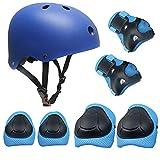 Topfire Kinder Scooter Hoverboard BMX Bike Helm, Hand-Knie, Ellenbogen Pads und Gel Pads - Blau