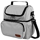 Anpro Lunch Tasche, Kühltasche - Lunch Bag Thermotasche Eistasche Picknicktasche Mittagessen Tasche mit 2 geräumigen Fächern Tragetasche Wasserdicht für Arbeit, Schule, Ausflug, 8L Grau
