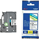 Beschriftungsband für Brother P-Touch 1280, Schwarz auf Weiss, 12 mm, Schriftband-Kassette für PTouch 1280, 12mm breit, 8mtr.