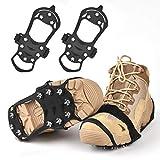 Huttoly Schuhe Spike Rutschfeste Schuhe Steigeisen, Edelstahl Nagel & Kieselgel Anti Rutsch Eisspikes für Den Stiefel, Schuhkralle