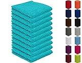 10er Pack Seiftücher, Seiflappen in vielen Farben 30x30 cm Türkis 100% Baumwolle