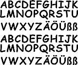 62 Klebebuchstaben von 2cm - 5cm lieferbar, in 7 Farben erhältlich (4cm schwarz)