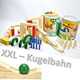 XXL HOLZ KUGELBAHN 72 TEILE Maxi Bausatz meine erste Murmelbahn Bahnen Bausteine Rampe ~yx 36 2x 1675 +