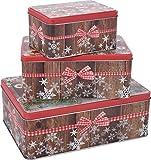Unbekannt Gebäckdosen Kekse Plätzchendosen Blechdosen rot Set 3-TLG. rechteckig