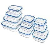 Zestkit Glas Frischhaltedosen Set aus 10er Frischhaltedose Frischhalteboxen Glasbehälter Vorratsdosen mit Deckel, Luftdicht, BPA frei, Geeignet für Mikrowelle, Gefrierschrank und Spülmaschine