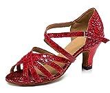 URVIP Neuheiten Frauen's PU Leder Heels Absatzschuhe Moderne Latein-Schuhe mit Knöchelriemen Tanzschuhe LD0100 Rot 34 CN