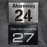 Metzler-Trade Hausnummer aus Edelstahl - Schild mit Nummer und Straßenname - inkl. Beschriftung - Befestigungsmaterial optional - Wandmontage (Edelstahl)