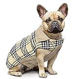 IREENUO Hund umkehrbar Schottenkaro Mantel Herbst Winter warme gemütliche Weste britischen Stil Hund gefütterte Jacke für Kleine mittlere große Hunde (XS,Beige)