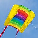 CIM Einleiner-Drachen - Beach Kite RAINBOW - für Kinder ab 6 Jahren - Abmessung: 70x47cm - inkl. 40m Drachenschnur und Streifenschwänze