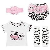 Yesteria Reborn Babypuppe Kleidung Mädchen Zubehör für 50-55 cm Weiß und Kuh-Muster