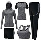 Zetiy Damen 5er-Set Strech Tights Sport Yoga Trainingsanzug (M, Grau)