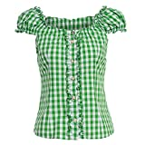Almsach Damen Trachten-Mode Trachtenbluse Carmen traditionell geschnitten Gr.32-50, Größe:36, Farbe:Hellgrün