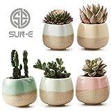 SUN-E 5 in Set 5.6 cm Behälter Pflanzer Keramik Fließglasur Fünf Farbbasis Serial Set Sukkulenten Pflanze Topf Kaktus Pflanze Topf Blumentopf