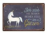 Grafik Werkstatt 60726 Wand-Schild | Vintage-Art |Ich Steh mit beiden Beinen Fest im glitzer | Retro | Nostalgic |Blechschild | Deko | Einhorn Blechschild, Metall, Uni, 30 x 20 cm