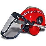 Forsthelm WOODSafe Rot/Grau inklusive Gehörschutz, Klappvisier, Nackenschutz - Schutzhelm für Waldarbeiter nach EN 397