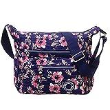 Wasserfeste Umhängetasche für Damen Teen Mädchen, Leichte Große Kapazität und Muti Taschen Reisegeldbeutel (Orchideen)