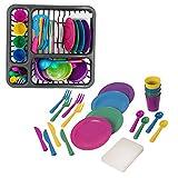 MAZOZ 21 Teile Geschirr Garnitur Spielen,Deluxe Küche Spielzeug Plastik Kochen Geschirr Essen Kinder Geschenk
