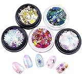 Zoylink 5 Boxen Weihnachten Nail Art Nail Charms Mode Bling Bling Schneeflocke Nail Decor